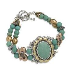 Carolyn Pollack Mixed Metal Green Turquoise Radiance Bracelet