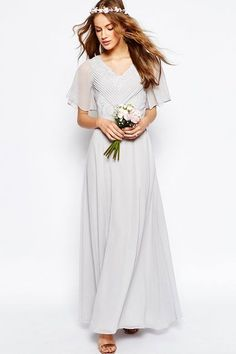 """Your """"something blue"""" is already covered.  Asos Lace and Pleat Maxi Dress, $128, available at Asos. Non Traditional, Alternative Wedding Dresses"""