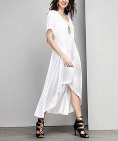 White V-Neck Hi-Low Maxi Dress