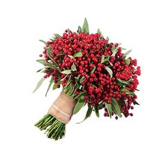Brides.com: . A Winter Wedding Bouquet With Cranberries. Even if you're not getting married anywhere near the cranberry bogs of New England, you can arrange a perfectly wedding-worthy bouquet of the festive berries to carry down the aisle. It's simple, and yet totally unique.  Cranberry wedding bouquet, $175, Rebecca Shepherd Floral Design  See more wedding flowers with berries and fruit.