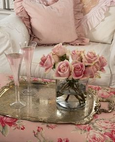 A Little Shabby Chic...love the silver tray on the ottoman..
