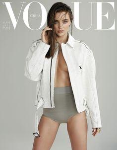 Vogue Korea Cover Miranda Kerr Topless White Jacket