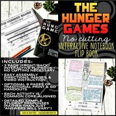 Hunger Games Interactive Notebook Flipbook: Literary Analysis Teacher Resources, Teaching Ideas, Hunger Games Catching Fire, Story Elements, Mockingjay, Interactive Notebooks, Future Classroom, Lap Books, About Me Blog