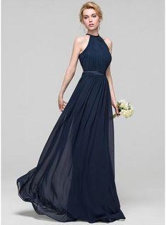 bc16a50418 Vestidos princesa  Formato A Decote redondo Longos Tecido de seda Vestido  de madrinha com Pregueado