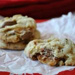 Peanut Butter and Caramel M&M Cookies from Something Swanky on www.chef-in-training.com ... These cookies have it all! They are delicious and unique! #cookie #recipe