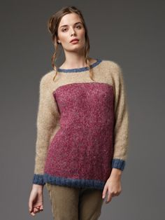 Knit this womens block colour sweater from the Kidsilk Haze Trio Collection. A design by Lisa Richardson using Kidsilk Haze Trio an exciting new, beautifully soft lightweight yarn comprising of 70% mohair and 30% silk.  This knitting pattern is suitable for beginners.