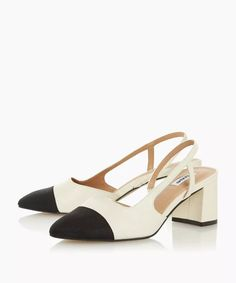 Featuring stylish cut-out panels, a slingback strap and almond toe. It has a contrast toe and sits on a classic block heel for added height. Ankle Strap Heels, Peep Toe Heels, Pumps Heels, High Heels, Black High Neck Top, Watch Gossip Girl, Parisian Chic, Slingback Pump