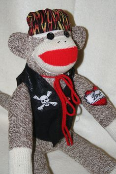 Handmade Biker Sock Monkey with personalized by SockMonkeyFarm, $38.00....cute for valentine!