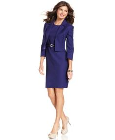 Kasper Suit, Three-Quarter-Sleeve Tweed Jacket & Sleeveless Belted Sheath Dress - Womens Dresses - Macy's
