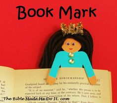 """Make a Queen Esther bookmark from the """"wooden people"""" dolls widely available in craft stores. An almost instant craft! thebiblemademedoit.com"""
