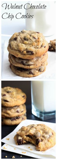 Super soft and rich chocolate chip cookies with toasted walnuts.: