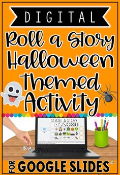 Students will have a blast with this digital Halloween themed writing activity! The traditional roll a story writing prompt has gone digital using Google Slides. Students can use this over and over again to write spooky stories. Great for the Google Classroom! #distancelearning Free Activities, Writing Activities, Roll A Story, Student Crafts, Promethean Board, Student Drawing, Shared Folder, Elementary Teacher, Educational Technology