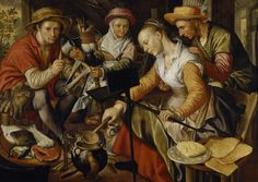 DUTCH KITCHEN SCENE in Great Hall at Treasurer's House, York. This painting by Beuckelaer, c.1530-73, is one of many works of art collected by Frank Green who restored this house. I love that she's making waffles!