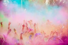 Holi Festival of Colour. A tradition using perfumed powder paint to celebrate the arrival of spring. A big mess, but a lot of fun. (Image from Heart It)