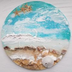 Estrella De Mar Zoll Kreis) Home Decor Wandkunst Strand Thema Harz und Acry . Rock Crafts, Resin Crafts, Sculpture Painting, Resin Paintings, Wood Slice Crafts, How To Make Resin, Epoxy Resin Table, Beach Wall Art, Art N Craft