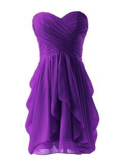 []  Dressystar Short Strapless chiffon party dress evening dress Purple 4 []---