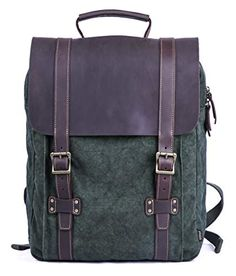 Gootium Tie-Dyed Backpack - Canvas Leather Travel Daypack Vintage Rucksack 8f71a78c9aa15