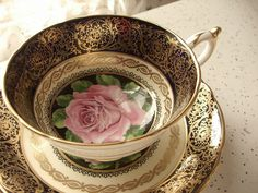 Antique Paragon pink rose tea cup set blue tea by ShoponSherman,
