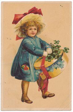 MBR - Ellen Clapsaddle - Little Girl Carrying Hat Box Full of Flowers
