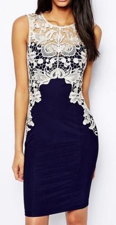 Lipsy Pencil Dress With Lace Detail - Multi