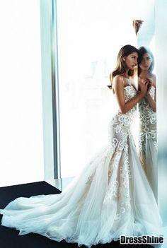 Glamorous Tulle With Lace Appliques Sweetheart Mermaid Wedding Dress - Trumpet / Mermaid - Wedding Dresses - Weddings