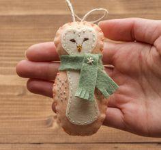 Barn Owl Christmas Ornament, Baby Girl, Felt Owl, Peach, First Christmas, Keepsake, Winter, Woodland, Forest Friend, FREE Gift Wrapping