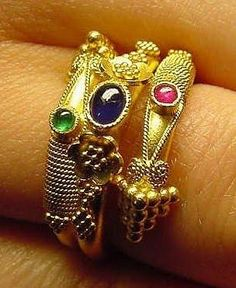 Byzantine rings. Source? Inspiration for using twisted wire and bezel settings.