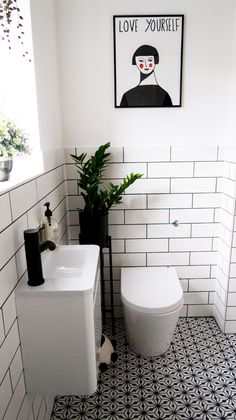 Monochrome Family Bathroom Renovation Home Renovation Project 6 , Retro Bathrooms, Small Toilet Room, Shower Room, Small Toilet, Small Bathroom Decor, Small Downstairs Toilet, Family Bathroom, Bathroom Renovation, Small Bathroom Makeover