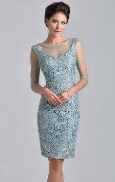 Sheer Sleeved Dress by Nina Canacci M215