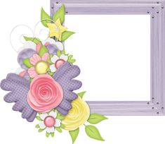 Cute Large Design Purple Transparent Frame with Flowers