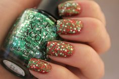 Nail Color for Christmas - green glitter topcoat over red nail polish