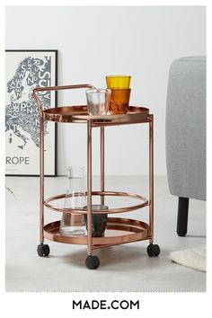 What's not to love about the copper trend? It complements so many colour schemes and styles, while adding a rosy glow to the room. Just like this Alana drinks trolley, here to elevate your spirits. Living Room Storage, Home Living Room, Living Room Designs, Kitchen Storage, Modern Side Table, Living Room Inspiration, Drinks Trolley, Colour Schemes, Interior Design