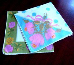 Spring Handkerchief Set Vintage Linens Floral by Flourisheshome