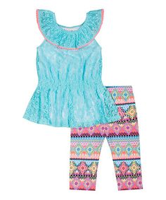Another great find on #zulily! Aqua Lace Ruffle Tunic & Leggings - Toddler &  Girls #zulilyfinds