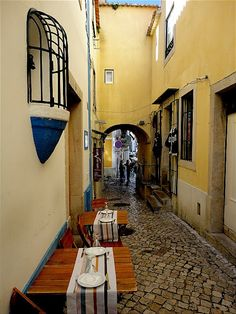 The narrow #streets of #Lisbon, #Portugal