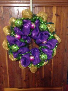 Mardi Gras Wreath 2014 www.etsy.com/sweetaveryjane