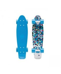 Boast your retro style on the Carlton from Penny Skateboards! A bright blue  board with a geometric deck graphic 36a6bdc7390