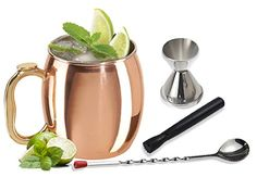 Moscow Mule 4piece Copper Set and Cocktail Making Set Includes Bar Tools and Accessories * Read more  at the image link.