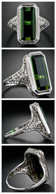 Tourmaline filigree ring, 1930's.