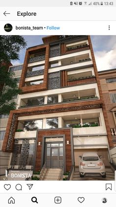 Residential Building Design, Modern Residential Architecture, Brick Architecture, Bungalow House Design, House Front Design, Facade Design, Exterior Design, Classic House Exterior, Building Facade
