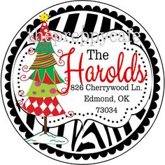 Personalized Christmas Address Labels featuring a whimsical tree and beautiful font. These are perfect because they are very unique and customizable, and are very easy to use. Just stick them right on your wrapped gift! #scottsmarketplace