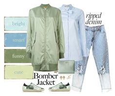 """""""Bomber Jacket & Distressed Denim"""" by musicfriend1 ❤ liked on Polyvore featuring Gucci, MM6 Maison Margiela, Kate Spade, Golden Goose, Temple St. Clair, Stefanie Sheehan Jewelry, women's clothing, women, female and woman"""