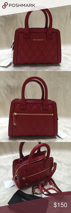 """*Closet Clear Out* Red Leather Satchel/Crossbody Tango Red leather satchel with removable crossbody strap. One outside zip pocket. One inside zip pocket. Three credit card slots inside. Measures 9"""" x 4"""" x 7"""". Vera Bradley Bags Crossbody Bags"""