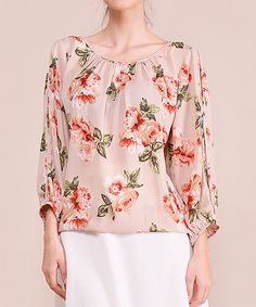 Look at this MISIA Mocha Floral Scoop Neck Top on #zulily today!