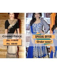 Combo Offer Of Designer Bollywood Embroidered Black Saree And Blue