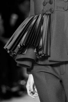Jacket with pleated panel for texture & contrast; creative sewing; pleats; couture fashion design detail // Dice Kayek Spring 2016