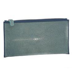 Shaved Shagreen Zip Envelope - Blue