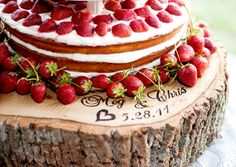Southern weddings, Cyn Kain, strawberry wedding cake, tree trunk cake stand, strawberry wedding ideas, rustic wedding ideas, farm wedding ideas