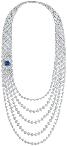 "RosamariaGFrangini | HighJewellery Clasdic | TJS | ""Signature De Chanel' collection in 18K white gold set with Diamonds and a CushionCut Sapphire - January 2016"