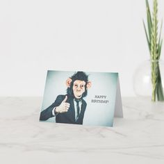 """Funny and cute birthday card with a guy in a business suit whose photo is digitally manipulated to have him wear the mask of a monkey. The text on the front reads, """"Happy Birthday,"""" in caps. Inside the card there's a customized greeting, reading, """"He's 21! Keep up your ninja monkey moves! Life rewards the brave wise ones! Love You! xx Kayla."""" #funny21stbirthdaycards #21stbirthdaygifts #funnymonkeybirthdaycards #21stbirthdaycards #funnybirthdaycards 21st Birthday Cards, Happy Birthday, Suit Card, Cute Monkey, Custom Greeting Cards, Funny Cute, Thoughtful Gifts, Ninja, Love You"""